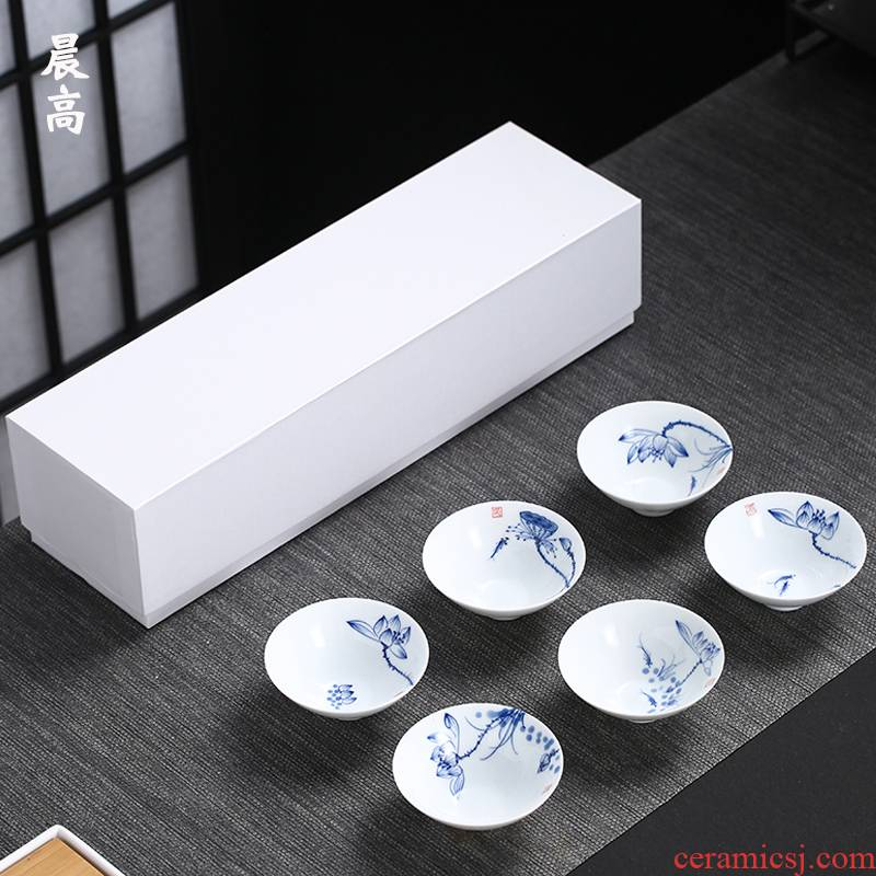 Morning high ceramic hand - made kung fu tea cups 6 young master cup tea light hat cup sample tea cup bowl