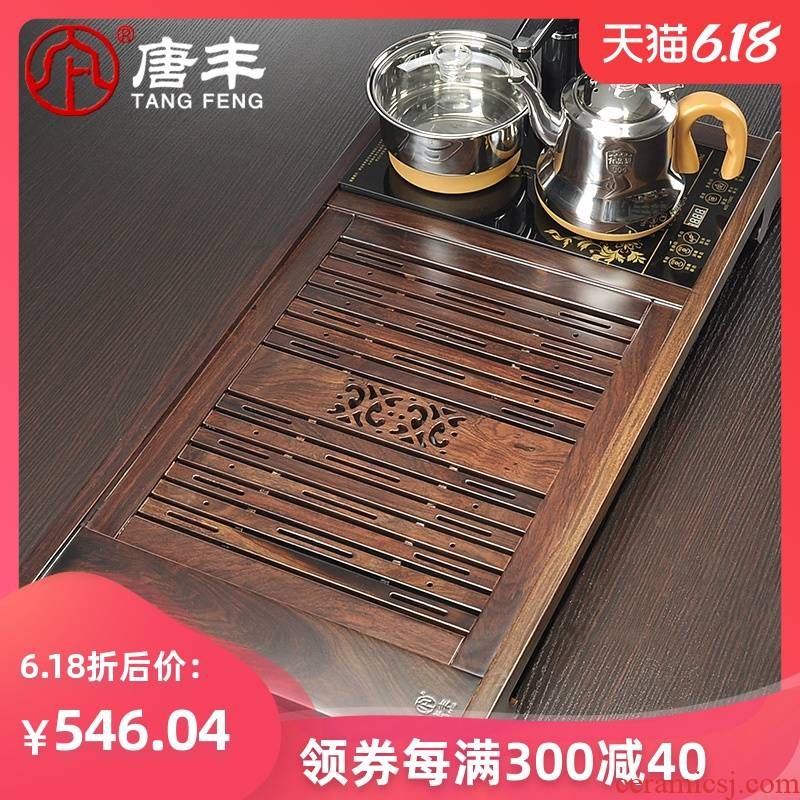 Tang Feng ebony wood ground drainage kunfu tea tea table four intelligent combination electric furnace tea tea sea z