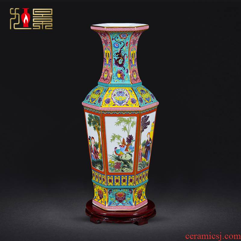 Xu jing, antique pottery and porcelain vase sitting room porch TV ark of new Chinese style flower arranging decorative furnishing articles of jingdezhen porcelain