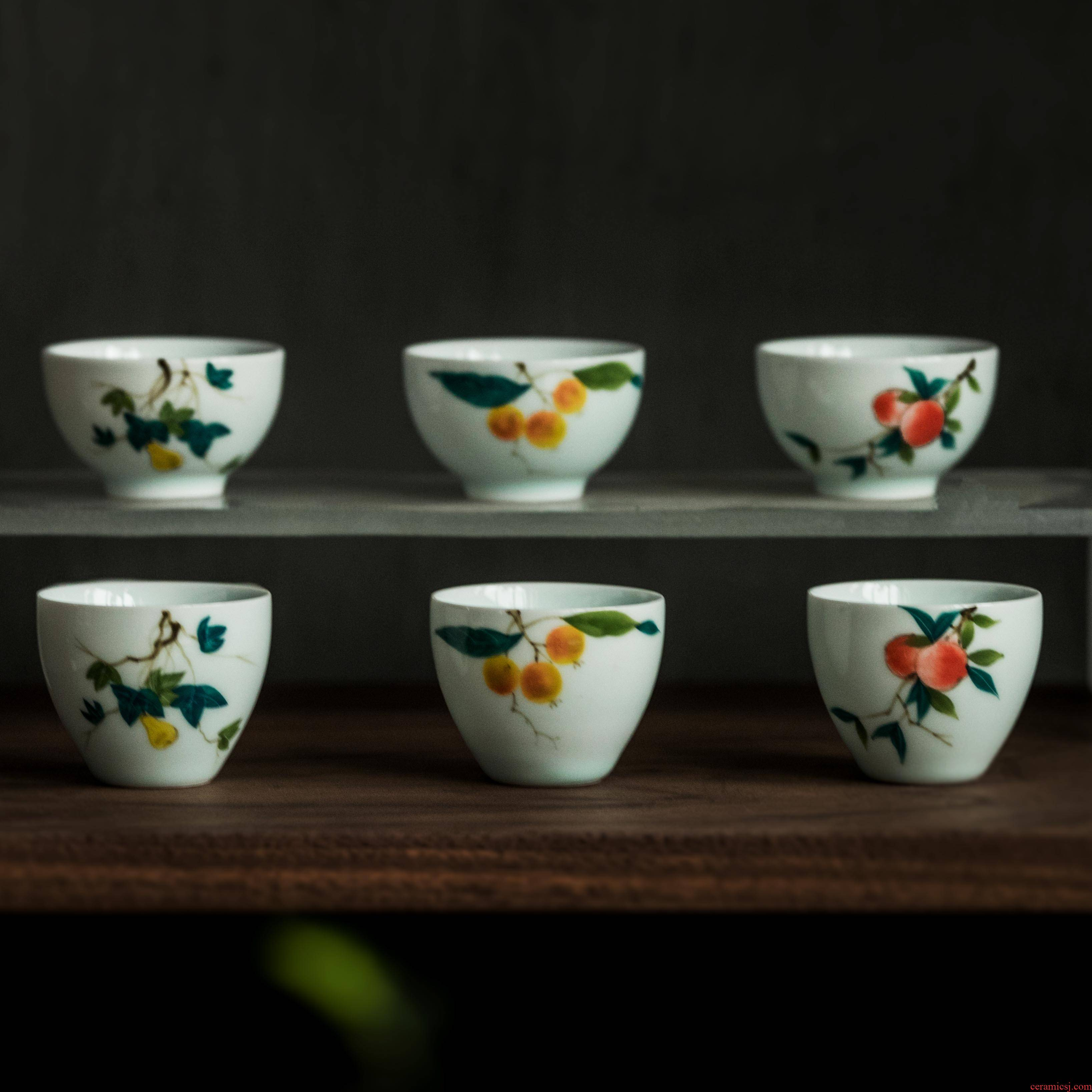Vegetation school shadow green ceramic hand - made teacup sample tea cup household fragrance - smelling cup cup master kung fu tea set small cups