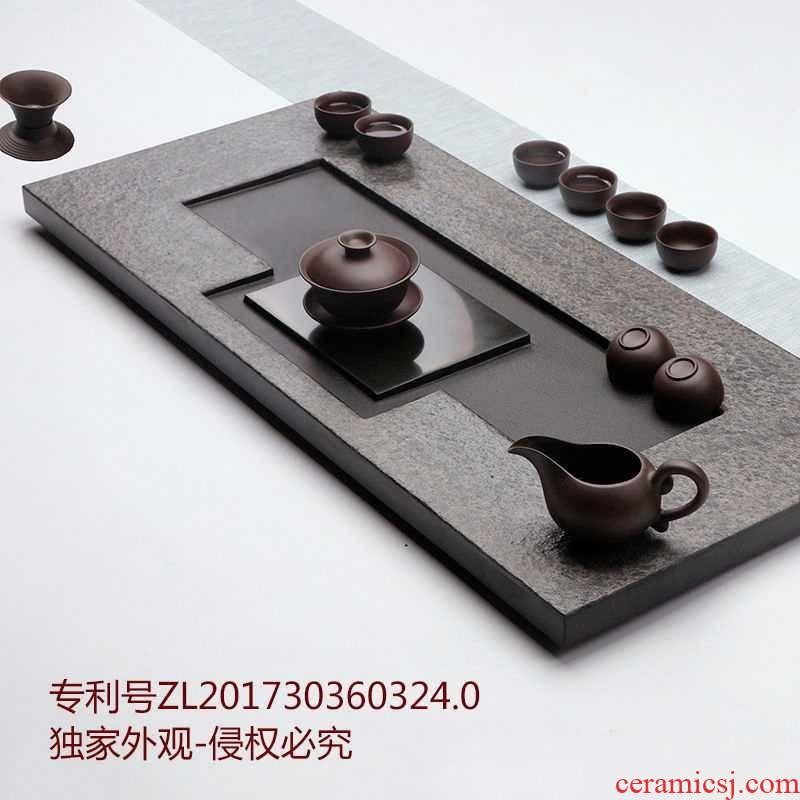 Sharply stone consolidation small natural black gold stone tea sets tea sea household I and contracted kung fu tea set
