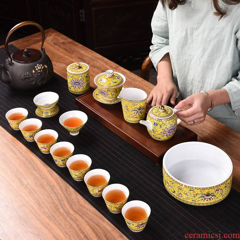 Chinese tea set household ceramics enamel kung fu tea tureen teapot gift boxes