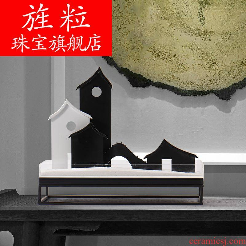 Bf of new Chinese style porch dry landscape metal soft adornment sitting room tea table example room teahouse book building sand table