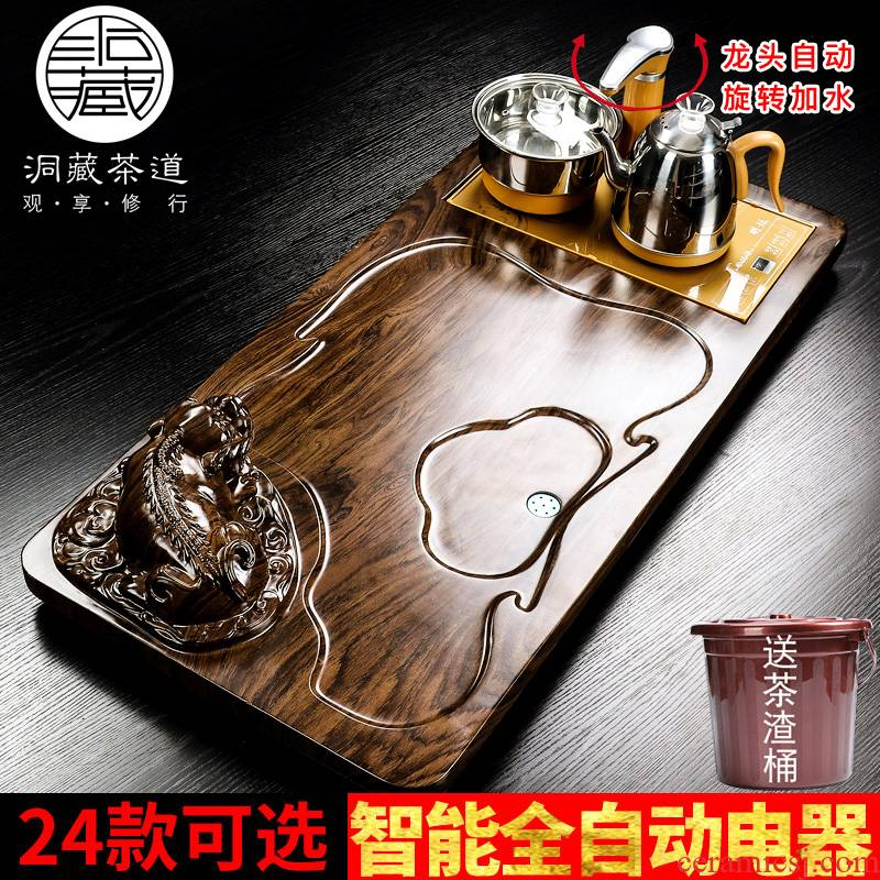 In building household automatic solid wood one tea tray was set tea service contracted tea mixture electric magnetic oven tray