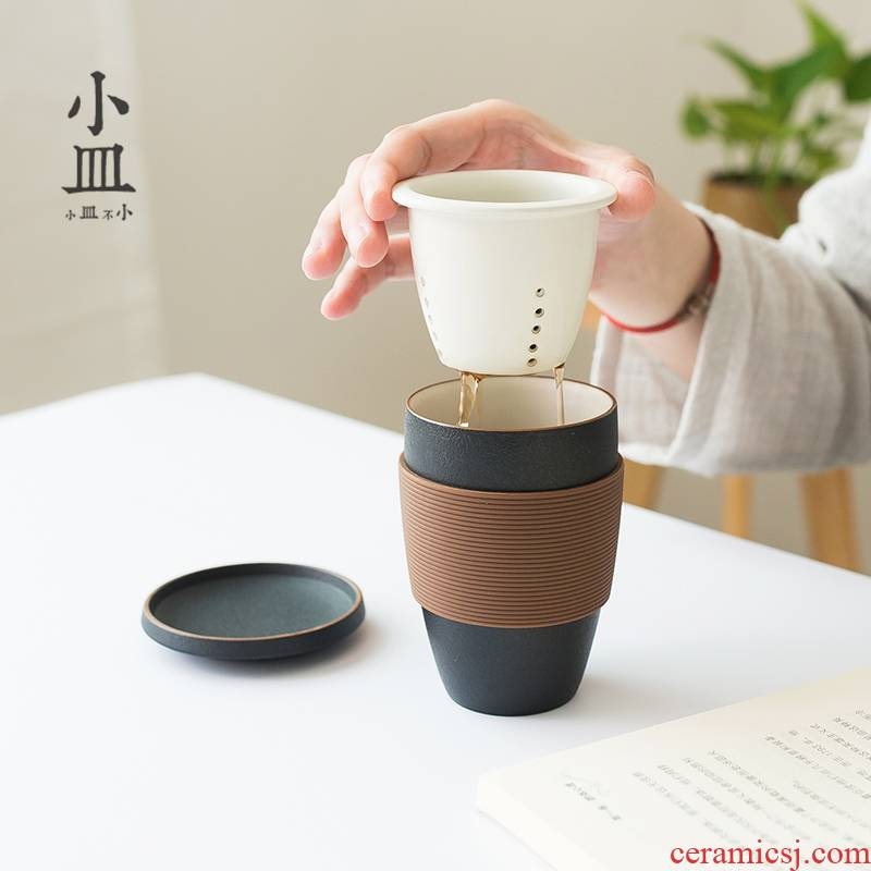 Small dish make tea cup tea separation ceramic with filter office household custom and tea cups