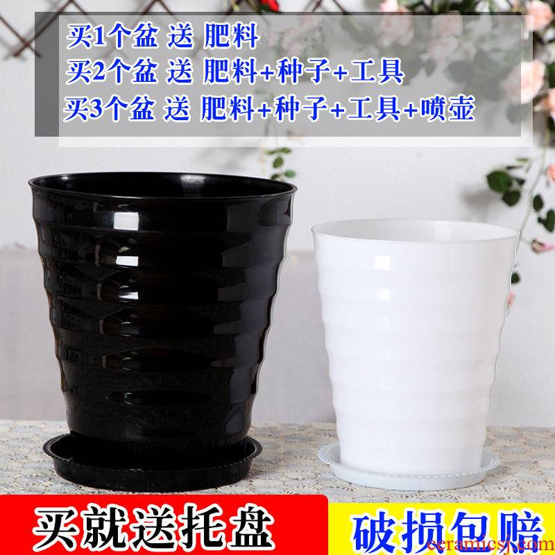 Oversized thickening capacity of black and white plastic thread flowerpot circular resin imitation ceramic green plant pot tray