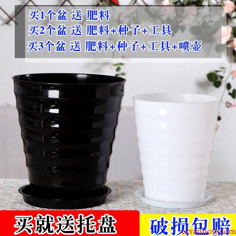 Oversized thickening capacity of black and white plastic thread flowerpot circular resin imitation ceramic green plant pot tray