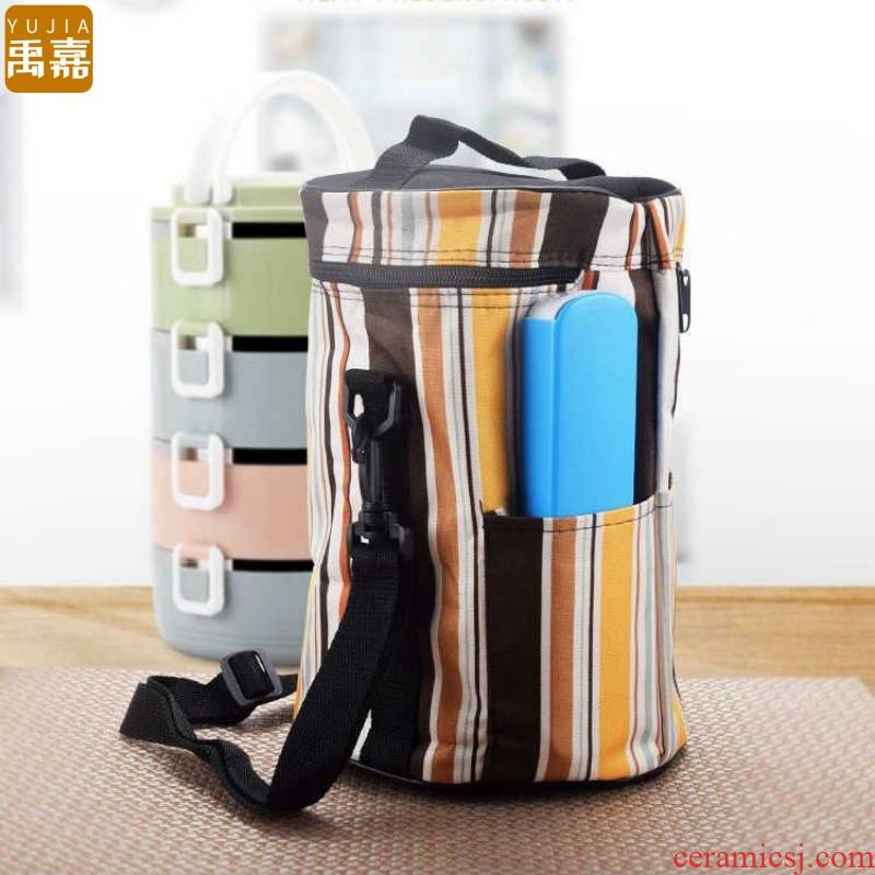 YuJia [buy three send three sets of tableware] lunch box aluminum foil bag lunch waterproof insulation barrel bag in the set of tubas