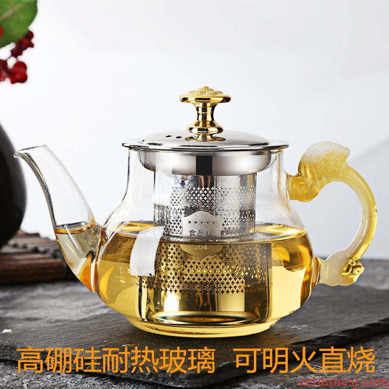 Thickening of the heat - resistant high - temperature flame glass tea pot induction cooker stainless steel cooking pot home office flower tea