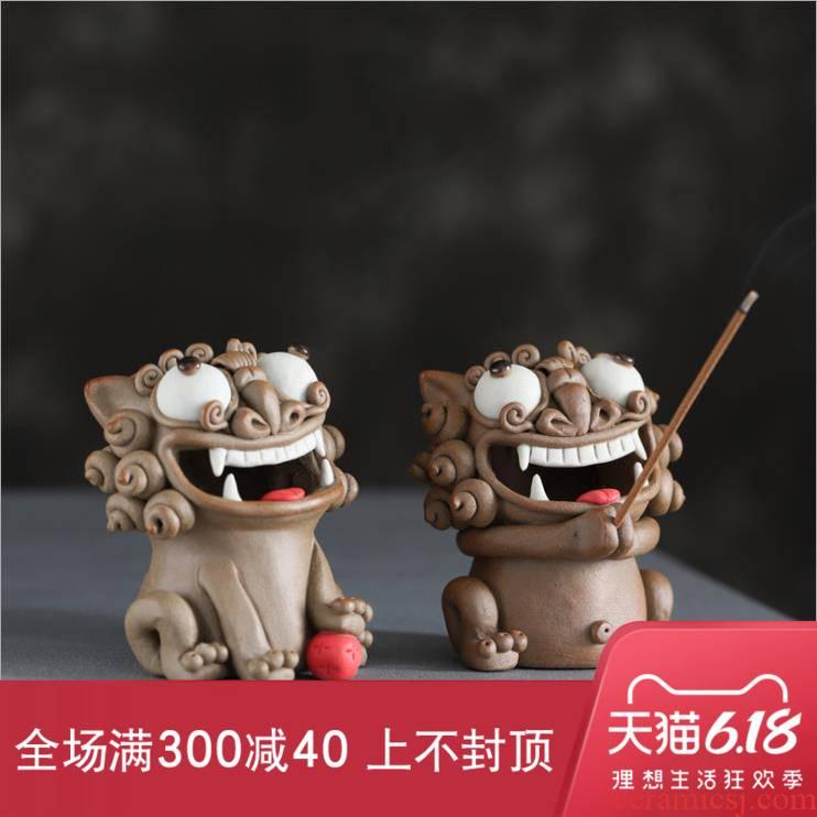 Lion tea pet ideas of jingdezhen ceramic checking incense high temperature coarse pottery tea zen Chinese style furnishing articles
