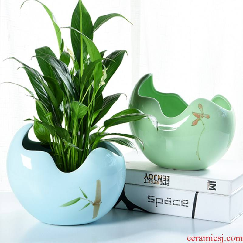 Large ceramic pot daffodil indoor green, the plants hydroponics miniascape of creative move water raise copper bowl lotus basin of grass