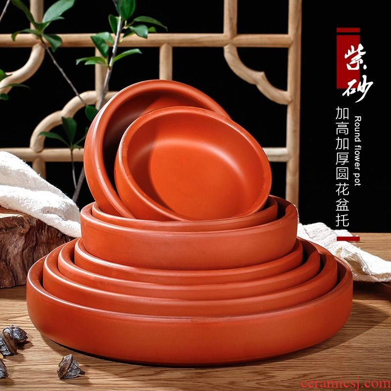 Violet arenaceous tray meaty plant flower pot mobile big tray after ceramic chassis circular disc pad plate tap water