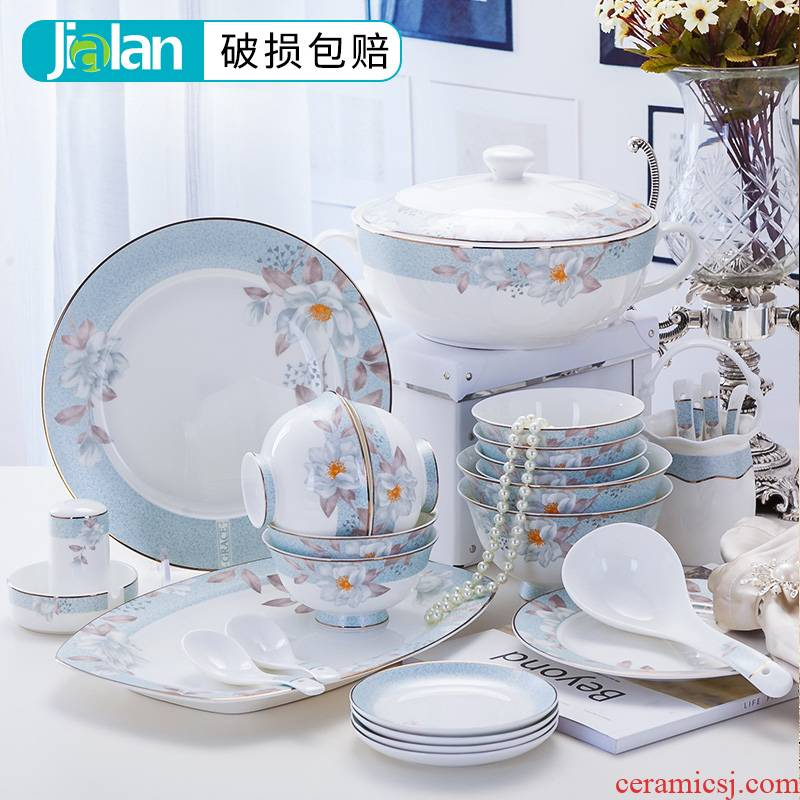 Garland 56 ipads porcelain tableware suit ceramic dishes dishes suit combination of household chopsticks to use bowl dish