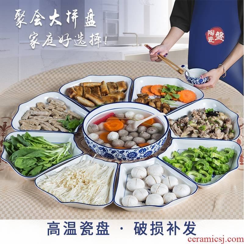 Web celebrity trill in same gifts ceramic platter cutlery set round plate Spring Festival reunion seafood features combination