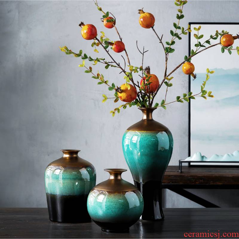New Chinese style rich ancient frame table vase furnishing articles ceramic sitting room adornment flower arranging dried flowers creative TV ark, decoration