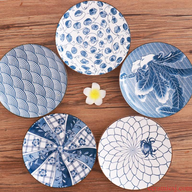 Package by Japanese and Chinese under the glaze color ceramic plate household restoring ancient ways round dish dish dish porcelain plates