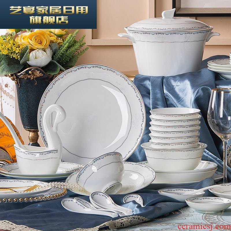 3 PLT ceramic dishes suit contracted household jingdezhen ceramic tableware suit dishes combine European dishes