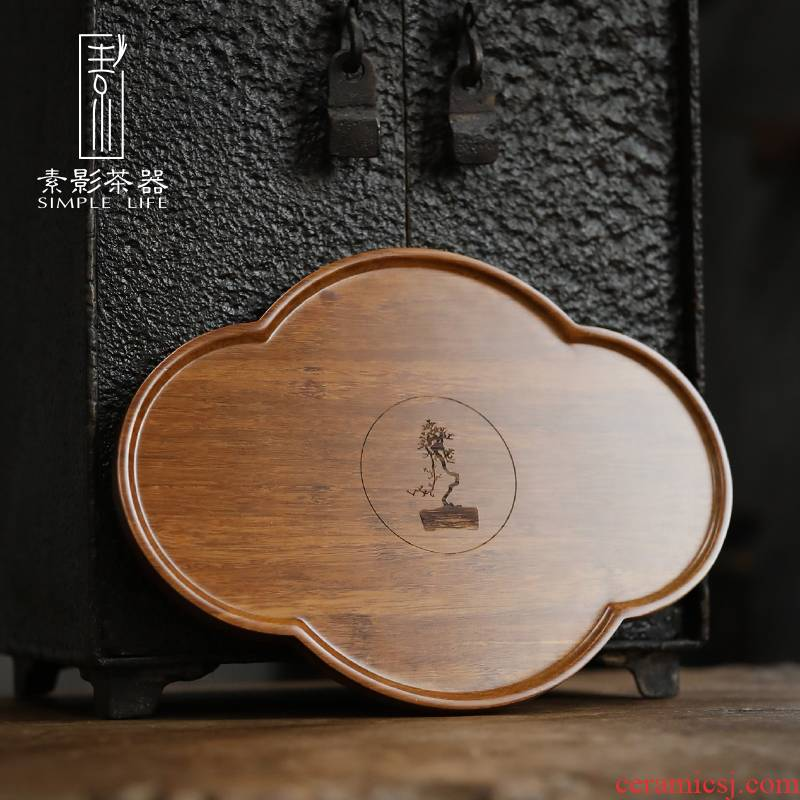 Element shadow oblong dark brown tray was Japanese the original bamboo bamboo plate tea set hotel tea tray was fan saucer pot of bearing pads