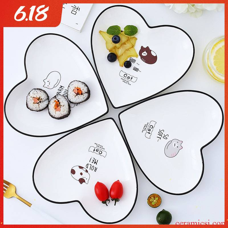 Ins web celebrity creative ceramic plate of northern wind love breakfast tray was lovely fruit dried fruit cake plate dessert plate plate