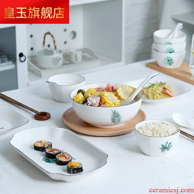 Hj dishes suit household 4/6 men jingdezhen ceramic tableware European large noodles soup bowl bowl dish group