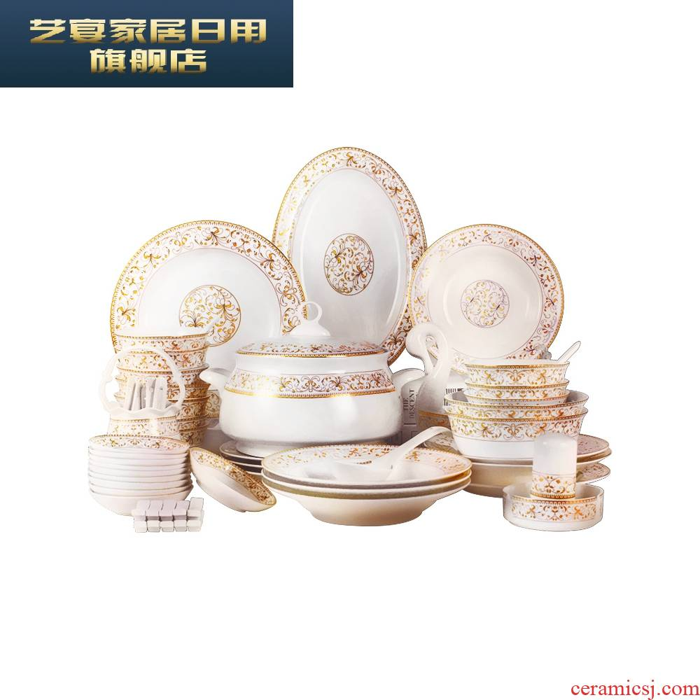 3 pb jingdezhen ceramic tableware suit European dishes home eat rice bowl Chinese bowl dish bowl chopsticks ipads China