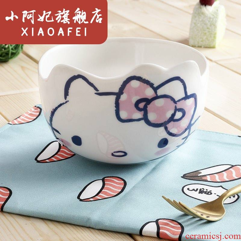 To use only a Bowl of household ceramic Bowl student dormitory single individual creativity to eat salad Bowl Bowl