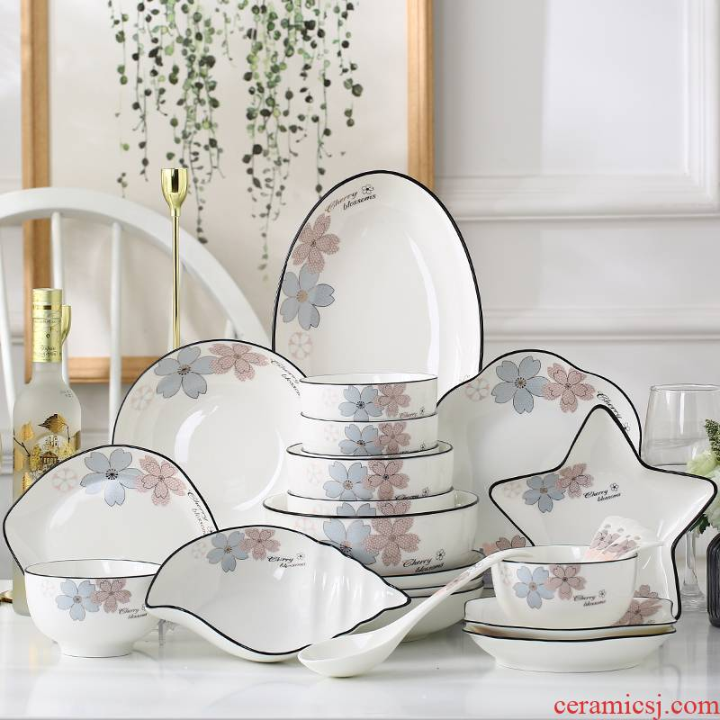 Garland ceramic tableware suit creative home dishes plate combination 56 north European ten bowl dish gift boxes