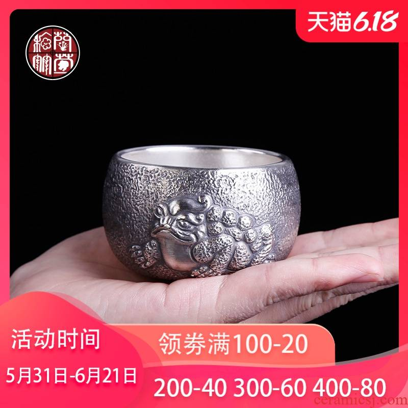 With silver spittor masters cup pure manual coppering. As turnkey household ceramics kunfu tea cup single silver cup
