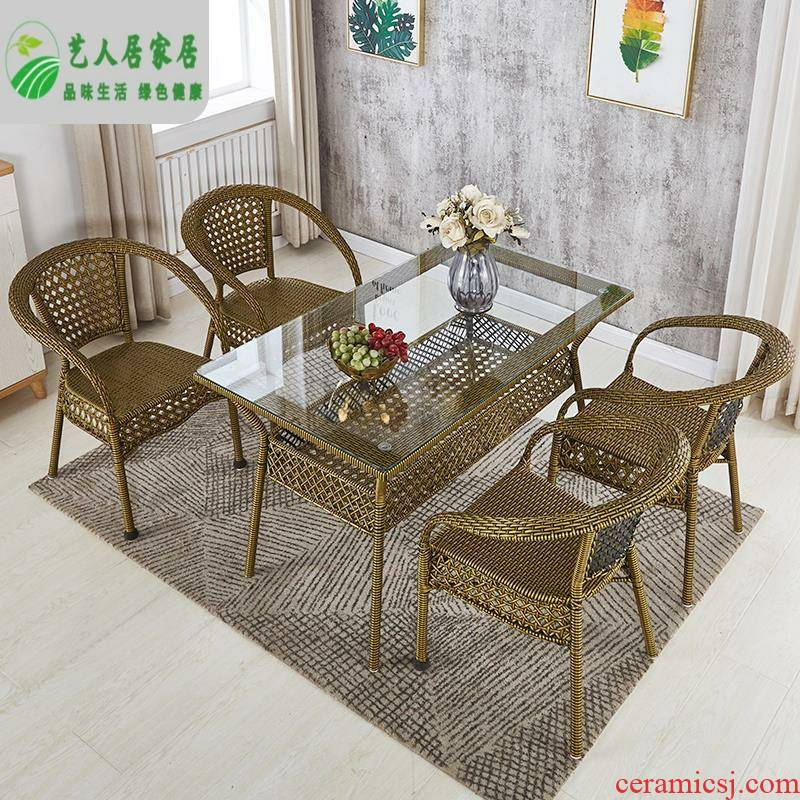 Imitation rattan chairs, is suing garden 345 sets leisure large rectangular balcony cane tea tables and chairs combination