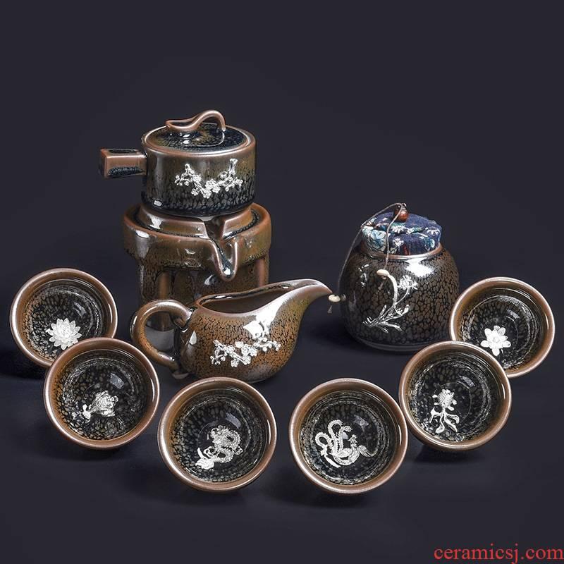 Hk xin rui jianyang tire iron partridge spot built lamp automatic tea set suit household creative lazy people built light tea sets