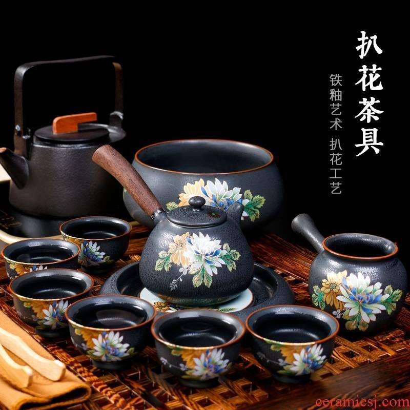 Hk xin rui stereo pick flowers retro black pottery household utensils kung fu ceramic side put the pot of gift set tea service