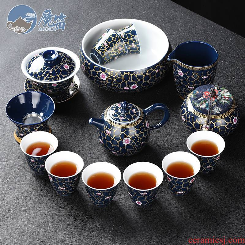 The flute imitation an inset jades was suit household retro kung fu tea cups jingdezhen ceramic tea pot lid bowl of office
