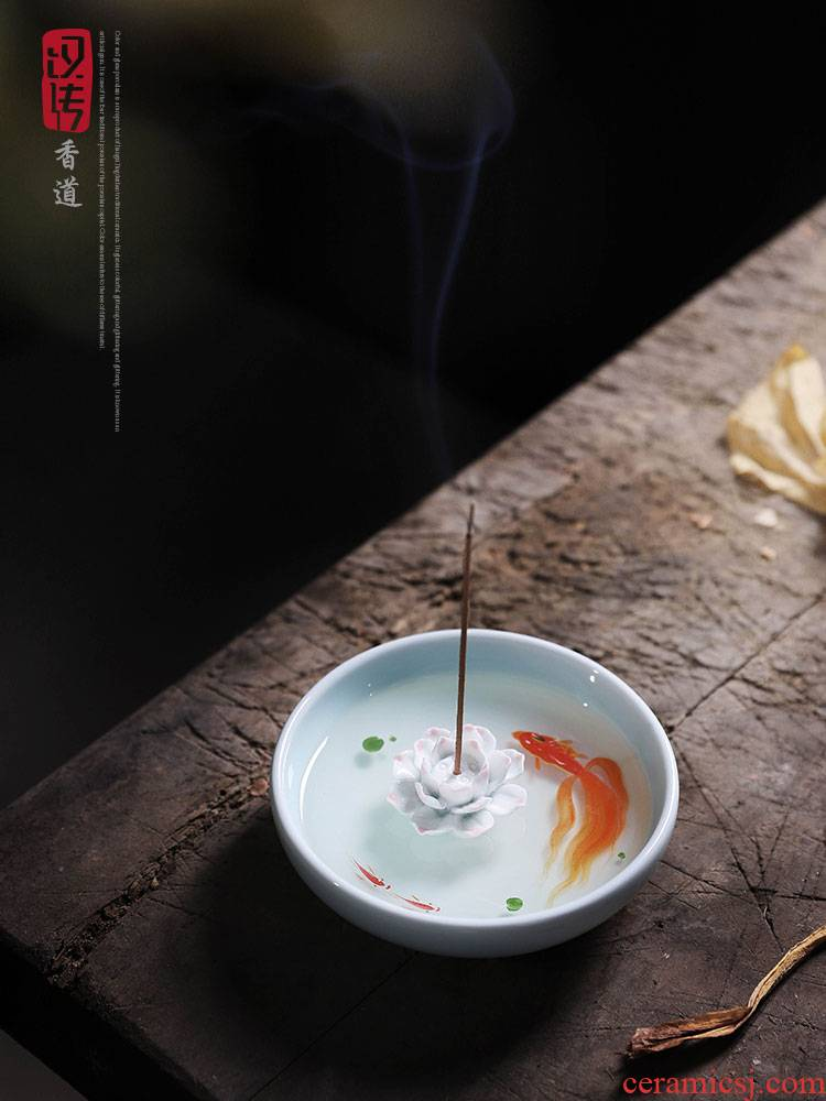 Resin three - dimensional put incense for household brocade carp lotus tea pastille inserted sandalwood a zen - like incense, creative decoration