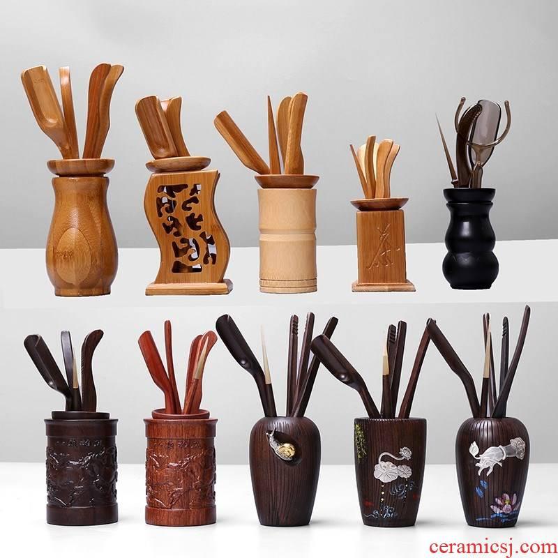 Wood ChaGa kunfu tea accessories antiskid tea tweezers clip wooden wooden cup tea tea cup clipping suits for