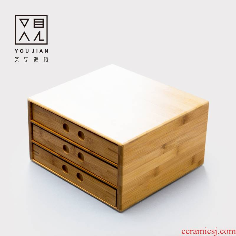 The creation of three And the layers of pu - erh tea tray box points reward to serve tea to the open bamboo tea tray tea accessories package mail box