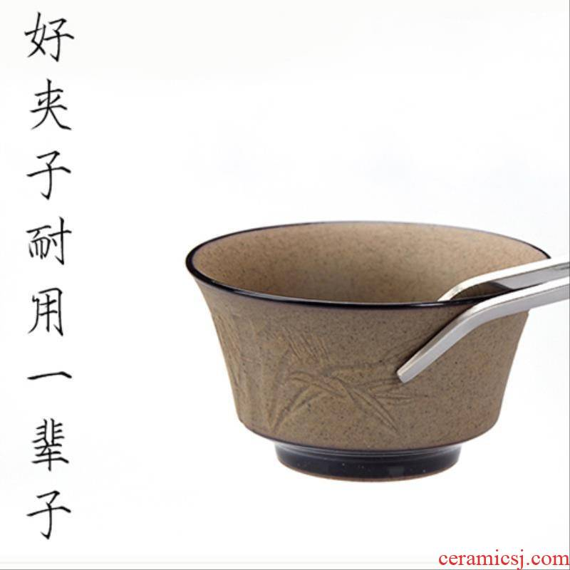 Home long instrument flat extended tool kung fu tea tweezers tweezers single tea tea spoon forceps clip tea