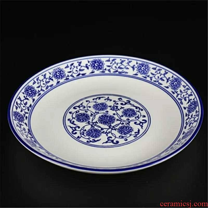 Law school shallow disc branch lotus archaize hotel tableware ceramic plate of 5 small dishes to 18 inches of cold dishes snacks blue B,