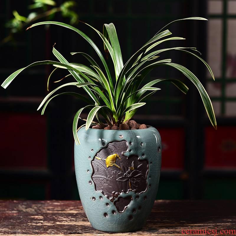 Violet arenaceous green, the plants potted bonsai pot pot device desktop creative move clivia bracketplant fleshy orchids ceramic POTS
