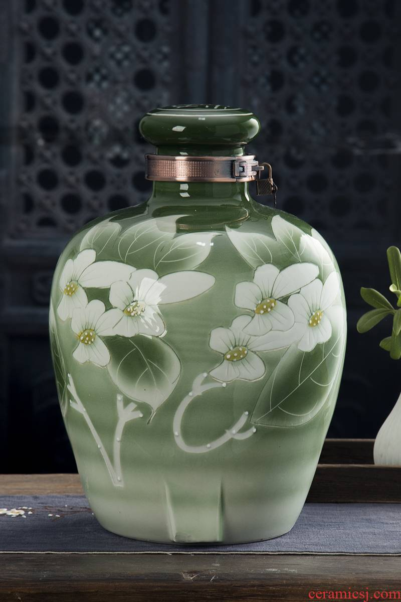 Jingdezhen ceramic jars 10 jins 20 jins 30 jins 50 jins home mercifully jars sealed bottle altar altar wine jar