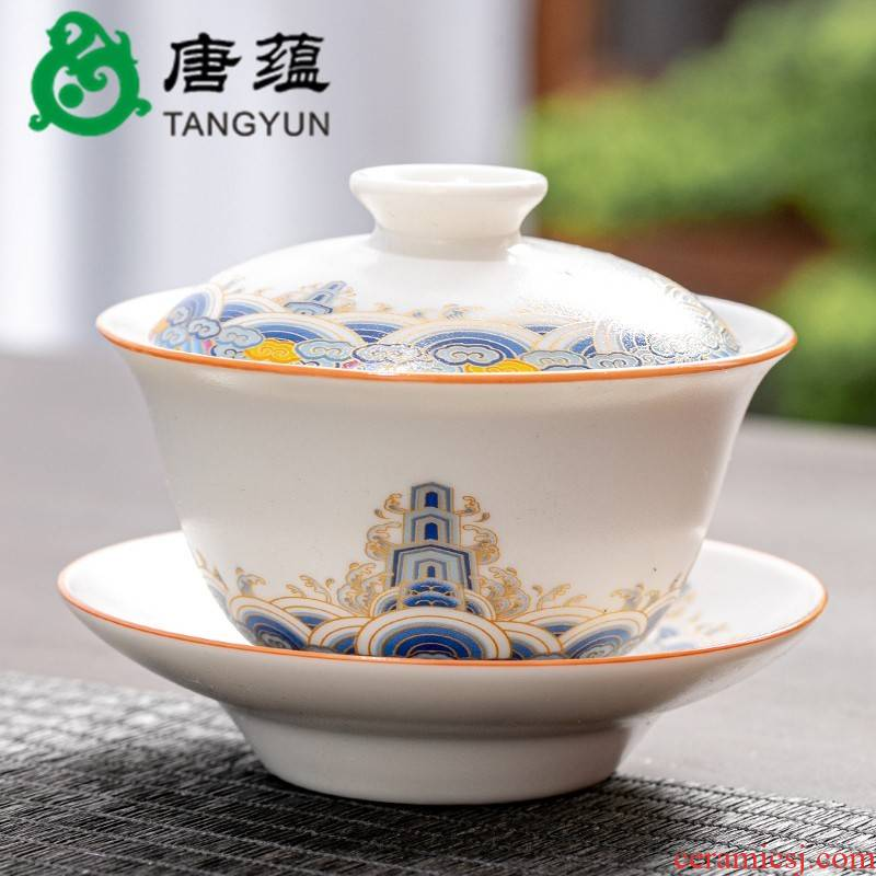 Gold colored enamel three to make tea tureen bowl cups large single household kung fu tea set suits for the lounge