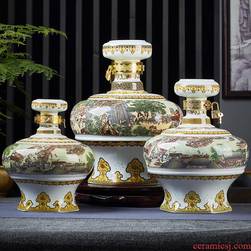 Jingdezhen ceramic bottle 2 jins 5 jins of 10 jins to clear painting seal home little hip mercifully wine jar