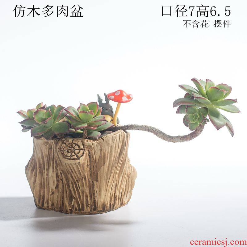 Creative move coarse pottery breathable small potted northern wind, lovely mini landscape more meat flowerpot ceramics special offer a clearance