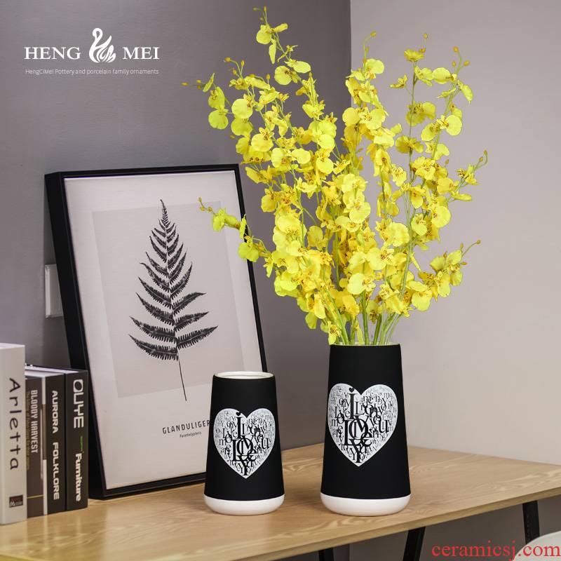 Ceramic vase floral decoration, black love flower arranging dried flowers sitting room decoration decoration flower arranging contracted and I gifts