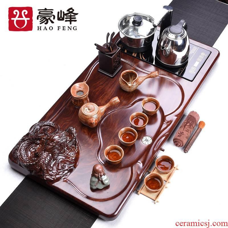 HaoFeng purple sand tea set a complete set of ecological wood tea tray and exquisite kung fu tea firewood coarse ceramic tea set automatically