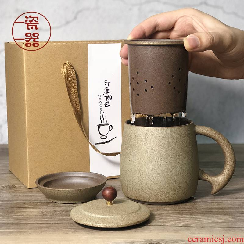 Retro coarse pottery tea mugs children water separation filter with cover glass mugs male big office
