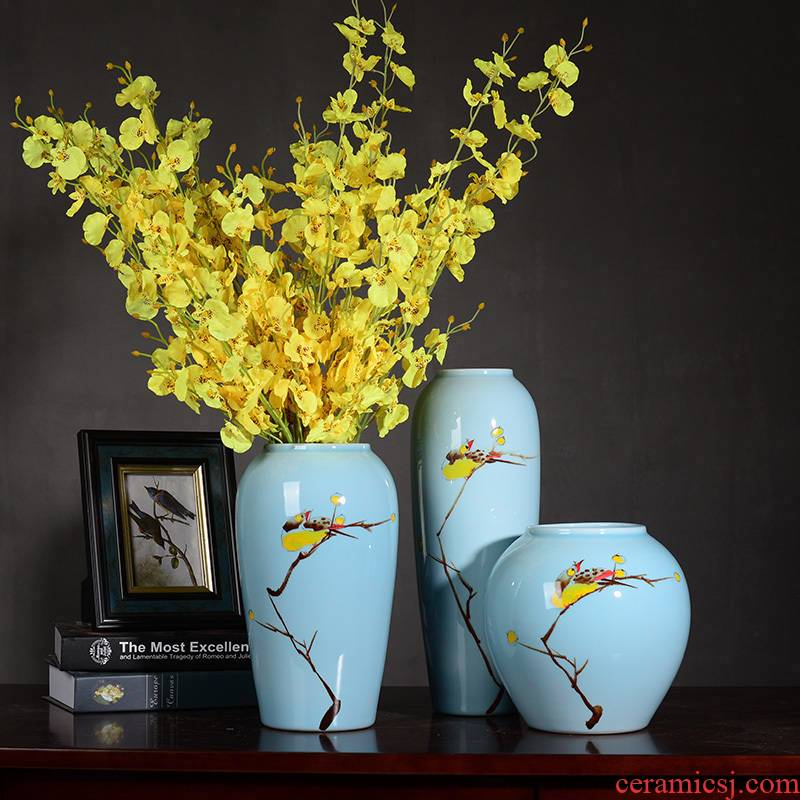 Beaming sitting room ins small fresh Chinese hand - made ceramic vase flower arranging dried flowers lucky bamboo vase furnishing articles