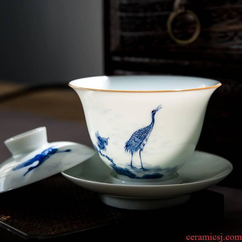 The Escape this hall jingdezhen blue and white pine crane, hand - made ceramic tureen tea cups set three tureen tea bowl of kung fu tea set
