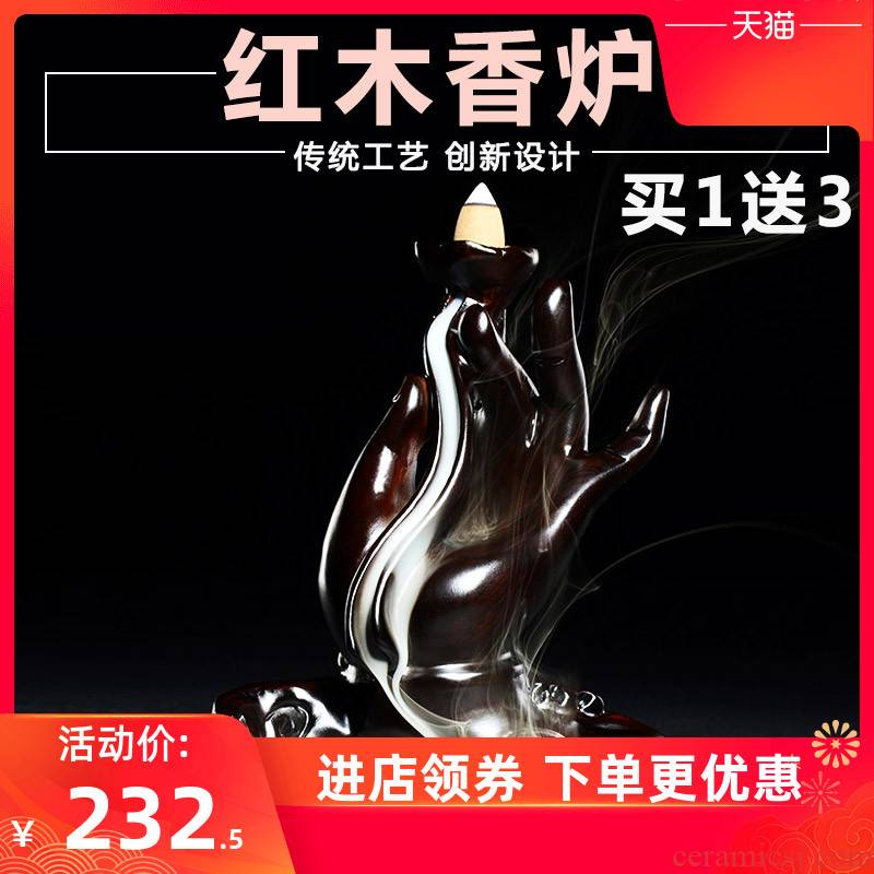 Ebony backflow censer creative red zen indoor household sandal wood tea aloes aroma stove furnishing articles