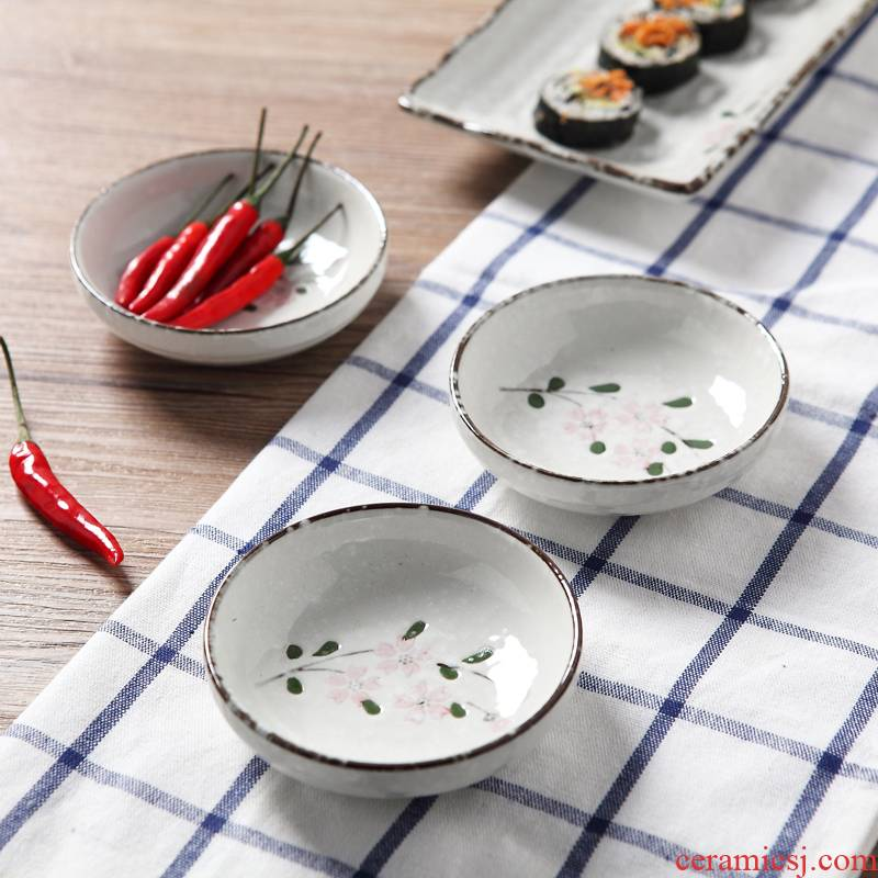 Jingdezhen snow under the glaze color hand - made cherry blossom put dessert plate 3.5 inch small round dish kimchi cold dish of soy sauce dish