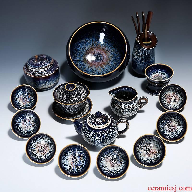 Jingdezhen built light tea set ceramic household utensils teapot teacup silver star kung fu tea set gift boxes